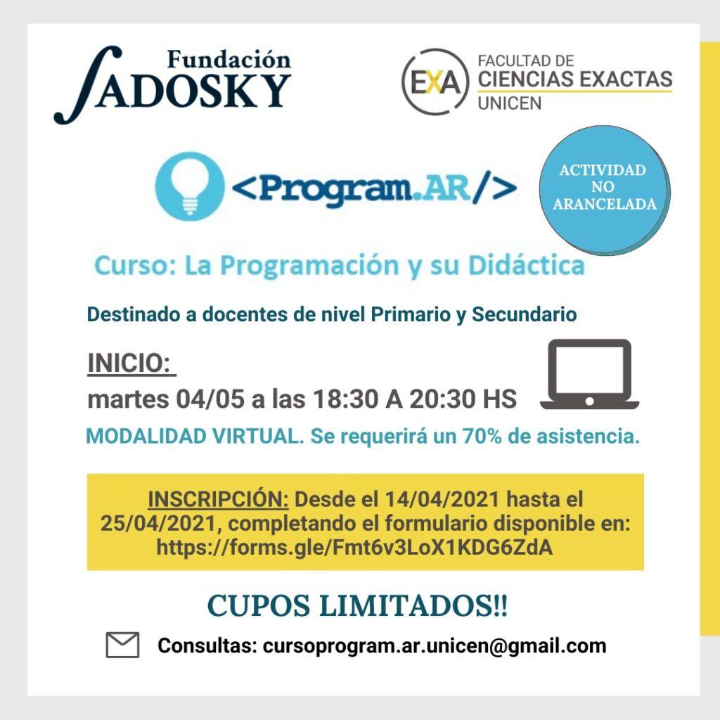 Banner del Curso: Programación y su Didáctica 1 – Método Program.AR