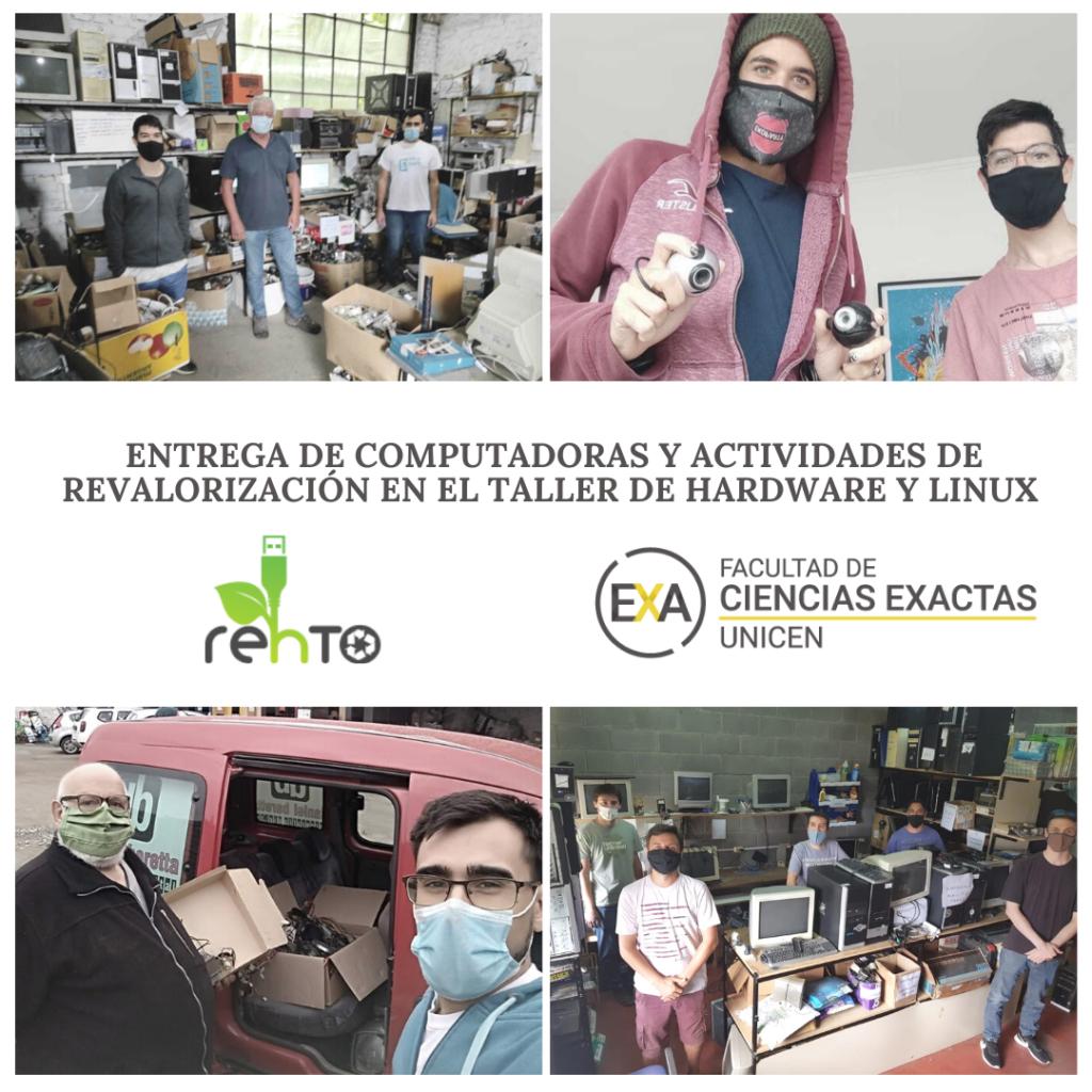 Banner de Entrega de computadoras y actividades de revalorización en el Taller de Hardware y Linux, en el que se ven fotos de las entregas